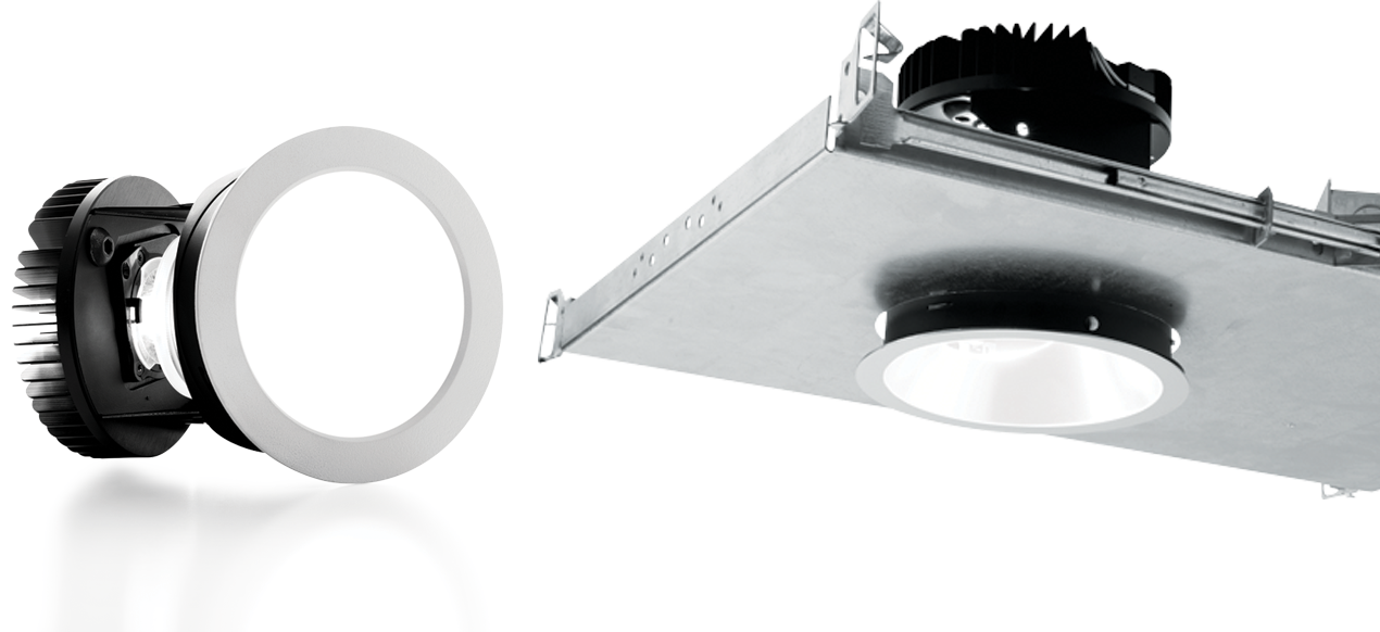 4AR: This innovative 4 inch LED downlight features adjustable aim with 0° - 45° tilt and 360° rotation for precision illumination