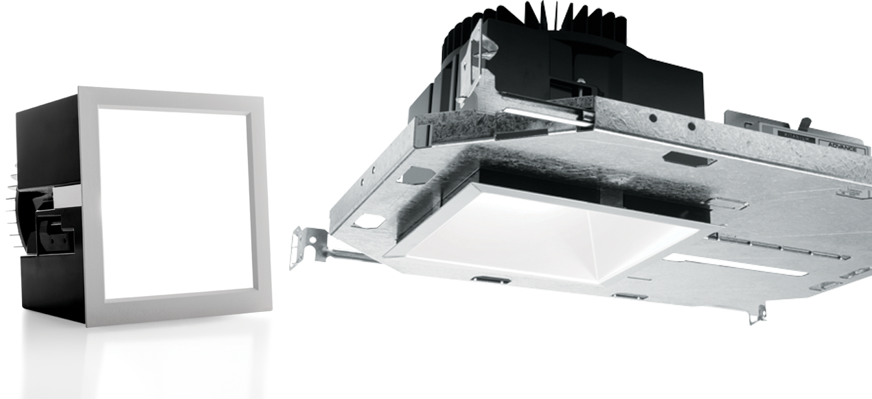 6DS: This architectural square LED downlight offers an open reflector in 9 finishes or die-cast lensed trims complement any interior design