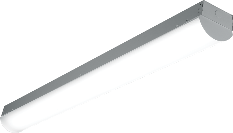 76R: The diffuse acrylic round lens enhances the standard strip by providing uniformity and reducing glare. Available in 4' and 8' lengths with special reflector options for precise light distribution.