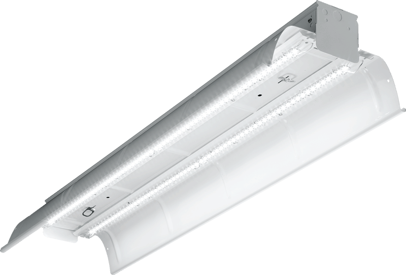 82: LED-powered industrial, the 82 series features a heavy-duty ribbed reflector to aim light directly for aisle applications in warehouses and factories.
