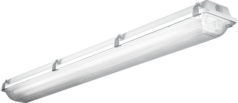 96: Available in LED or T5/T8, the fully enclosed and gasketed 96 series features uniform distribution, high-impact frosted acrylic shielding, and IP65-67 certifications.