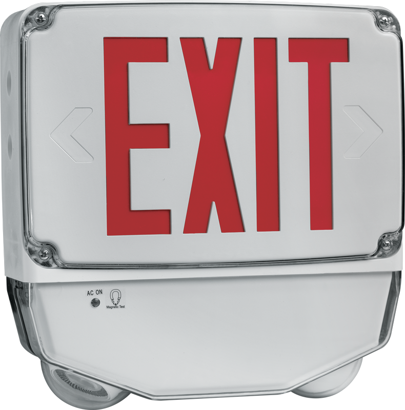 EXIT/EM/W: Featuring optional single face or double face with red or green lettering and removable directional indicators, the EXIT/EM/W with ultra bright LED is rated for wet location.