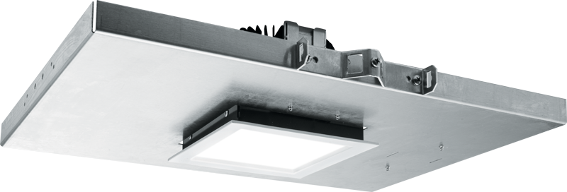 "M4PS: Designed with non-ferrous materials for MRI imaging suites, the square M4PS features an IP65-rated die-cast trim with easy-to-clean flush lens and sports a slim 5"" depth for minimal plenum spaces"