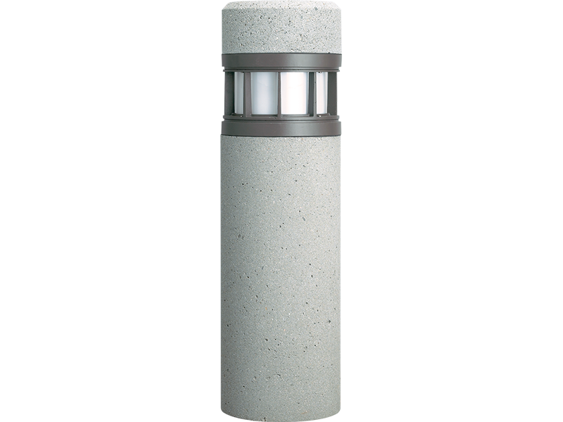 OSC12R: Utilizing your choice of  horizontal, vertical, or louvered shields providing Type V distribution with LED illumination, the OSC12R provides a versatile concrete bollard that perfectly complements gardens and pathways.